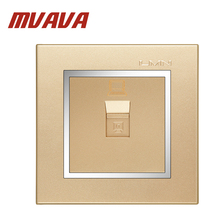 цена на Free shipping MVAVA Home Office computer wall socket,Network Ethernet LAN RJ45 outlet,Luxury champagne gold  panel wall PC plug