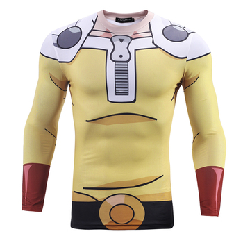 Men Cartoon 3D T shirts Long Sleeve Quick Dry Compression T shirt Saitama-ken One-Punch Man Bodybuilding Tight Tops  1