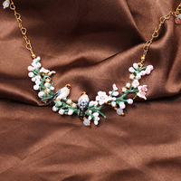 Les Nereides Luxury Cherry Blossoms Flowers Birds Necklace For Women Lady Party Prom Necklace Best Gift