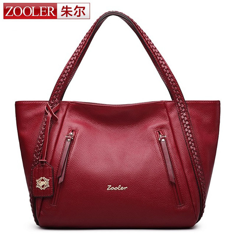 ZOOLER Red Black Genuine Leather Bag Women Bag Women Shoulder Bags Fashion Lady Leather Handbag Casual Tote Bags bolsa feminina