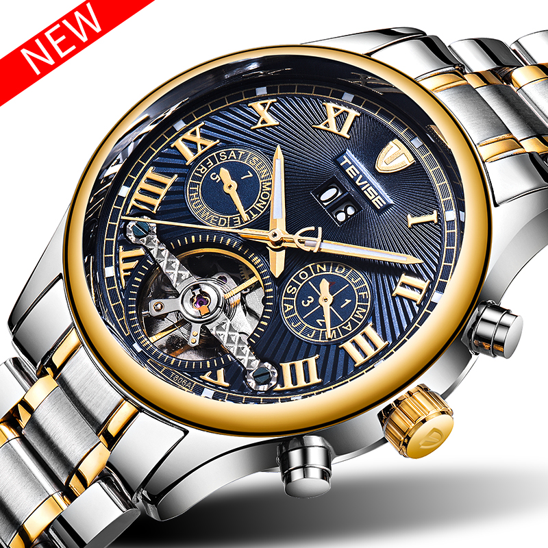 TEVISE Tourbillon Automatic Mechanical Watches Men Self Wind Auto Date Day Month Luminous Stainless Steel Mens Wristwatches Box tevise men automatic self wind gola stainless steel watches luxury 12 symbolic animals dial mechanical date wristwatches9055g