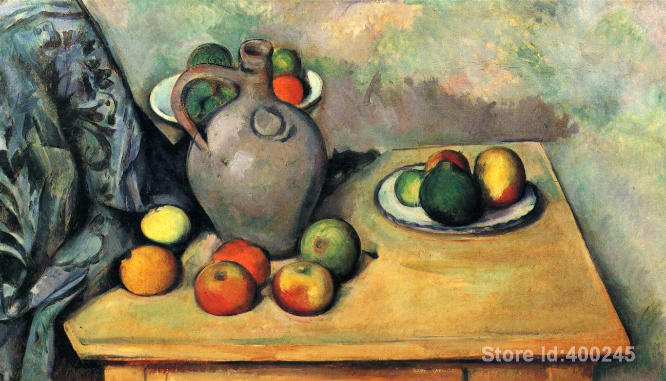 Famous paintings by Paul Cezanne Still life jug and fruit