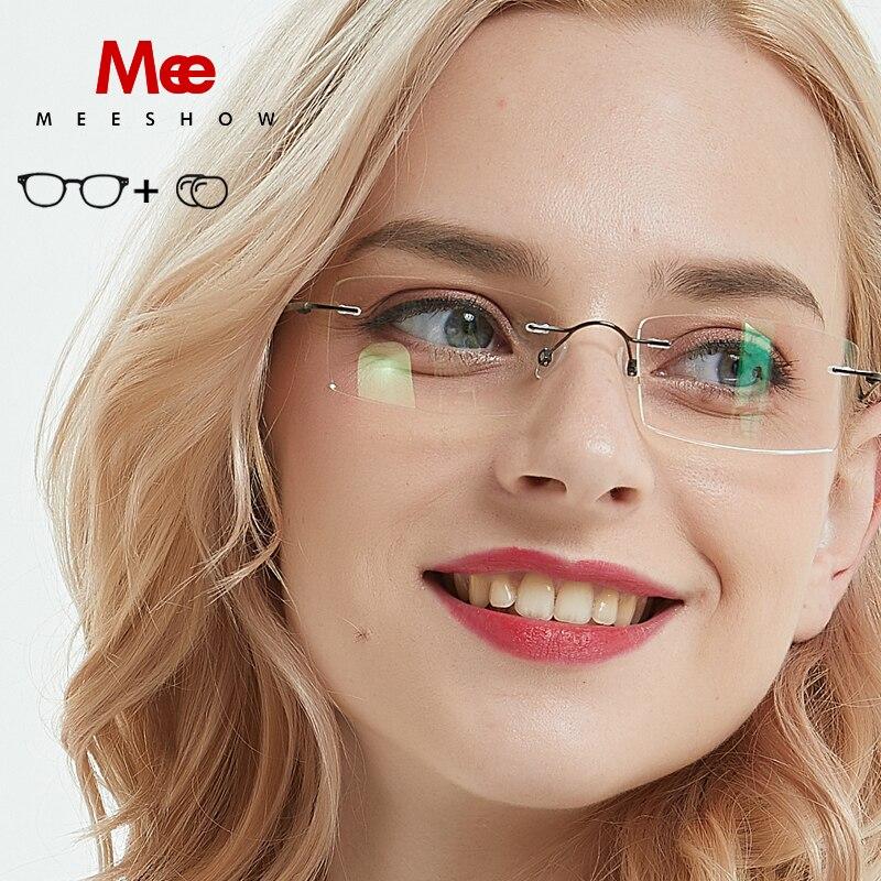 Meeshow 1 paire de lunettes 100% Pur armature en titane pour lunettes de vue avec le cas Lunettes femmes hommes Prescription Lunettes Ultra-Léger lunettes