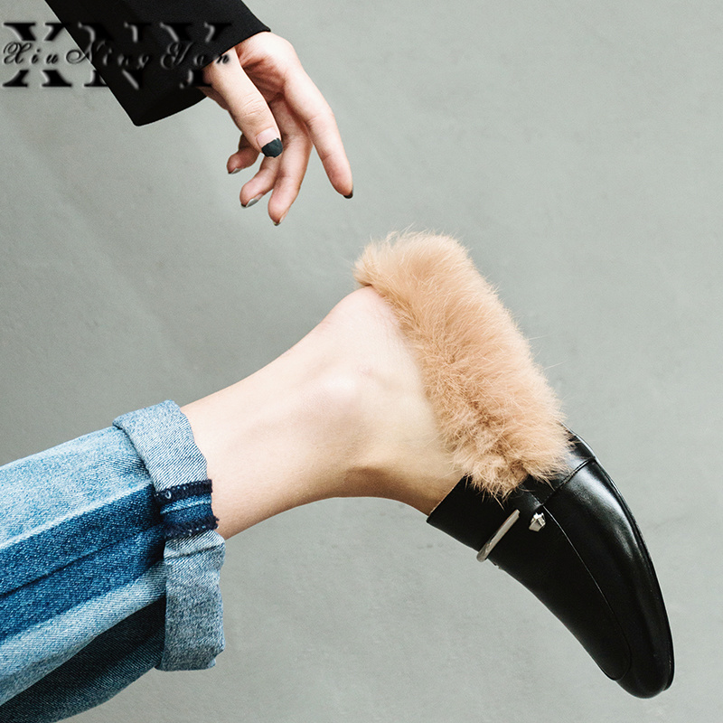 XIUNINGYAN Women Winter Boots Genuine Leather Ankle Metal Snow Boots Female Warm Rabbit Fur Brand Shoes High Quality Botas Mujer