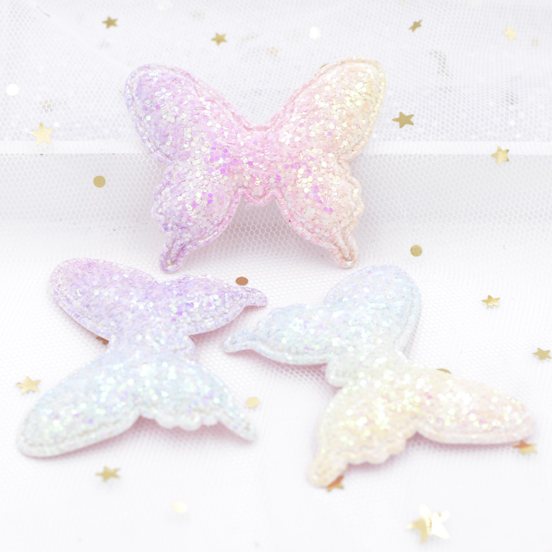 Iridescence Gradient Ramp Padded Patches Glitter Paillette Kawaii Butterfly Appliques for DIY Hair Clips Decor Accessories S57