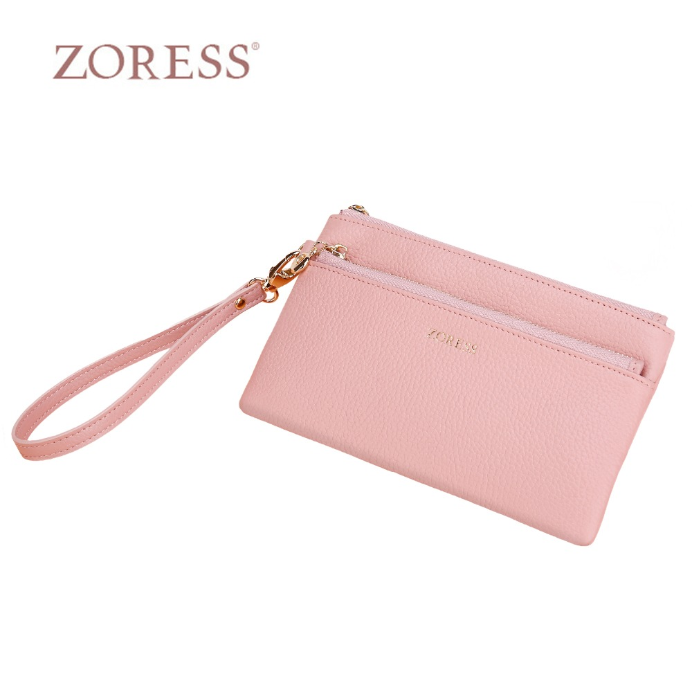 ZORESS Fashion Wallet Female Long Purse With Wrist Strap, Double Zipper Multifunctional Wallet Coin Pocket 4 Card Slots 5 color