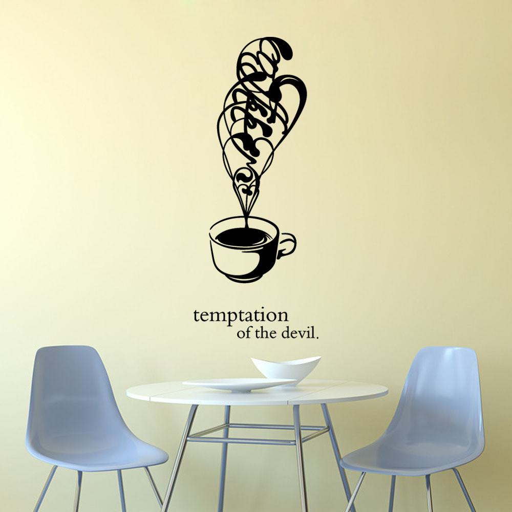 New Arrival Beautiful Design Wall Stickers Coffee Cups Cafe Tea Wall  Stickers Art Vinyl Decal Kitchen Restaurant Pub Decor