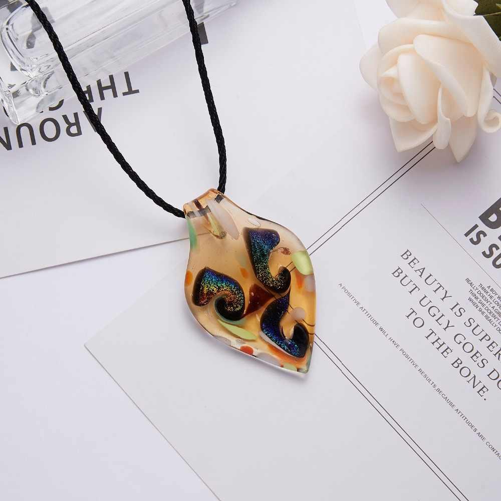 Collares plante cristal collier goutte d'eau feuille de verre motif en cuir chaîne pendentifs Maxi collier pour Womem petite amie cadeau