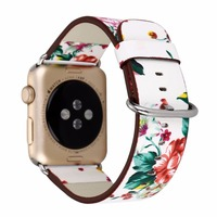 National Black White Floral Printing Leather Watch Band Strap For Apple Watch Flower Design Wrist Watch