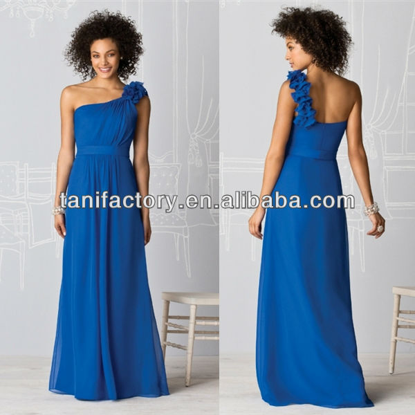 2017 The Latest Arrival Marine Blue Chiffon Floor Length With Crimped One Shoulder Bridesmaid