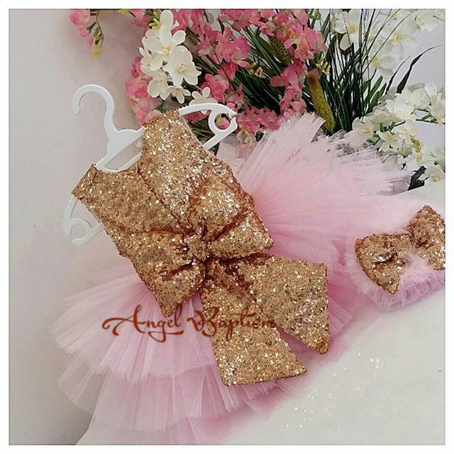 Cute pink baby girl 1st birthday party dresses golden sequins tulle toddler kids Princess graduation dress tutu outfits with bow 2016 new cute baby girls dress kids princess party denim tulle bow belt tutu dresses 3 8y