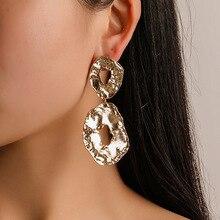 Gold Silver Plated Trendy Womens Earrings Fashion Geometric Metal Dangle For Women Drop Jewelry