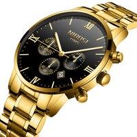 NIBOSI יוקרה מותג 2019 שעונים גברים מלא פלדת זכר שעון זהב שעון גברים ספורט עמיד למים שעונים Relogio Masculino 1985 Saat