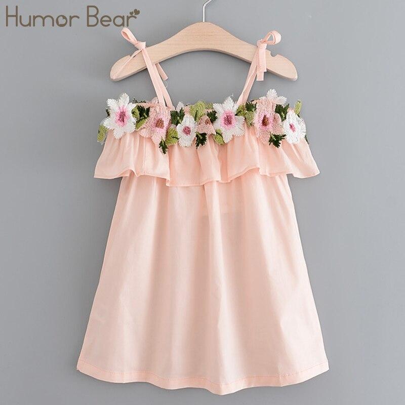 Humor Bear Girls Dress 2018 New Autumn Brand Baby Girls Shoulderless Embroidery Dress Children Clothing Dress humor bear girls dresses brand autumn