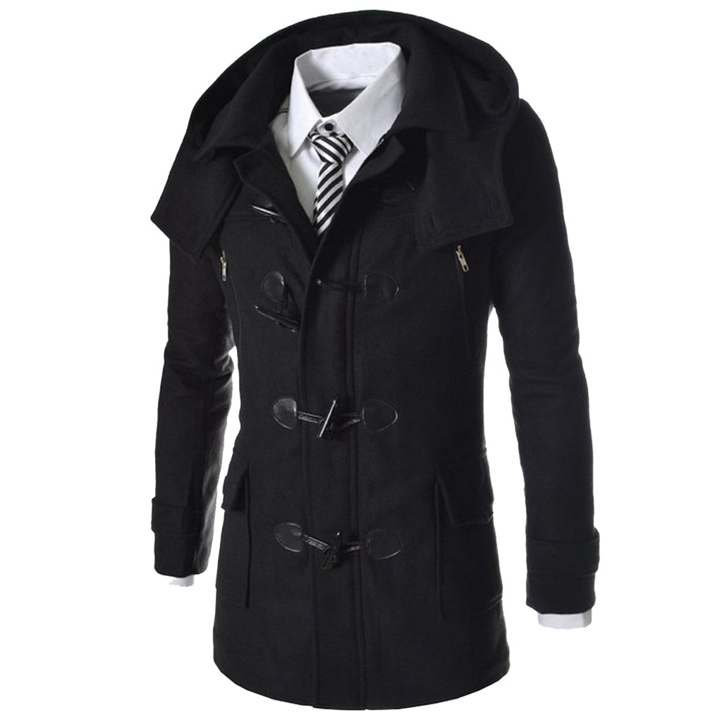 men woolen coat Winter Solid Horns Buckle Outwear Long Sleeve Overcoat d90711(China)