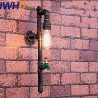 IWHD Iron Sconce Vintag Wall Lamp Retro Water Pipe Wall Light Fixtures Antique Stairway Lighting Wandlamp Bedroom Arandela
