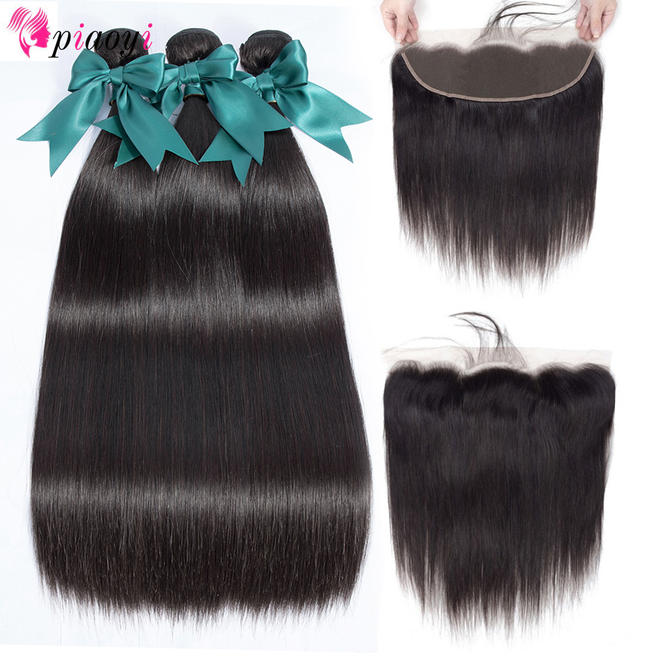Brazilian Straight Hair Bundles With Frontal Remy Human Hair 3 Bundles With Lace Frontal Closure Ear