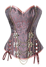 Retro Corset Brown Brocade Double Zipper Overbust steampunk Double steel Buttons Espartilho with chains Plus size S-2XL