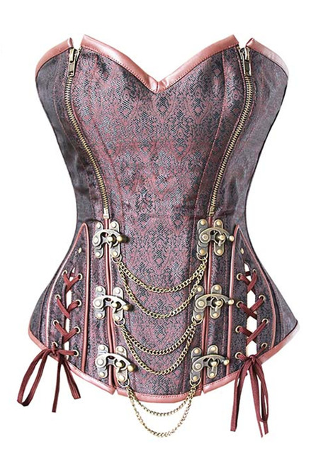 ee956ed35 Retro Corset Brown Brocade Double Zipper Overbust steampunk Double steel  Buttons Espartilho with chains Plus size S-2XL