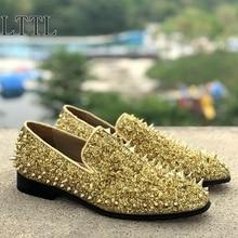 LTTL New Handmade Glitter Long Spikes Loafers Bling Sequins Mens Banquet Wedding Shoes Slip On Rivets Dress