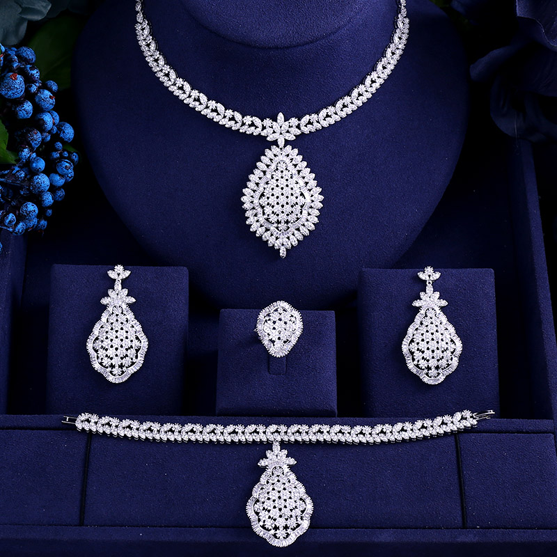 цена на AccKing Luxury cubic zirconia necklace bracelet earrings and ring 4pcs dubai full jewelry set for women,bridal dress dinner