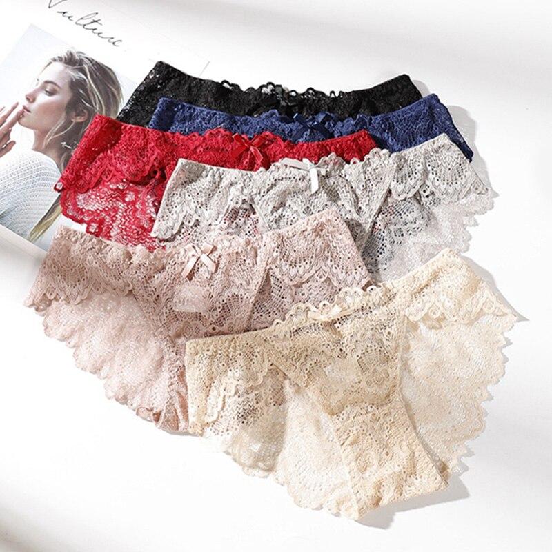 Fashion Underwear Women Sexy Lace   Panties   Cotton Crotch Low Waist Breathable Transparent Seamless Women's Underwear Briefs E0025