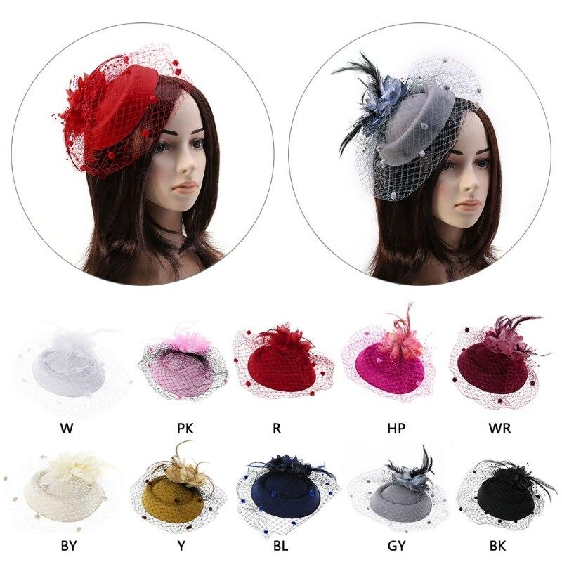 Fascinating Hair Clip Headband Hat Bowler Feather Veil Wedding Party New Hair Clip