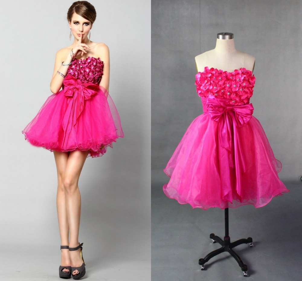 2018 Free Shipping Sexy Sweetheart Model A-line Flowers Zipper Back Above -Knee Homecoming Party Prom Gown Bridesmaid Dresses