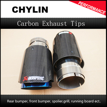 DHL Free Shipping 2PCS Akrapovic Car Bright Carbon Fiber Exhaust End Pipes Single Muffler Tips