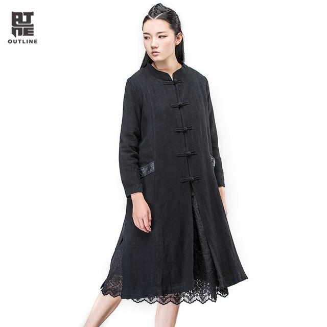 Lange Zwarte Winterjas.Outline Merk Vrouwen Zwarte Winterjas Met Lange Vintage Uitloper In