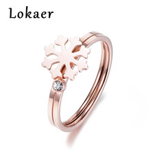 US $2.73 36% OFF|Lokaer Fashion Rose Gold Color Snowflake & Cubic Zirconia Rings Set For Women Stainless Steel Wedding Ring Jewelry R180070300R-in Wedding Bands from Jewelry & Accessories on Aliexpress.com | Alibaba Group