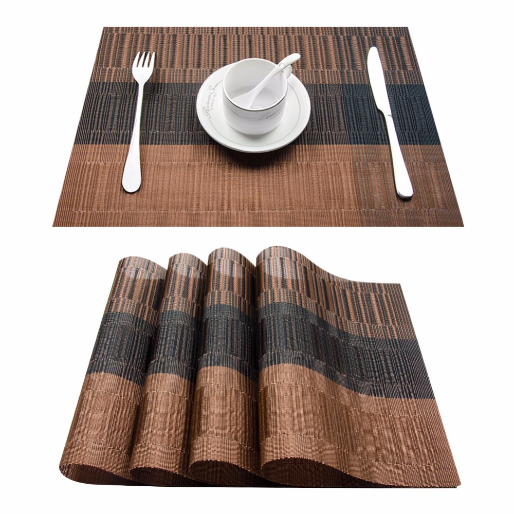 Dining Table Placemats Set Of 8 Pvc Bamboo Plastic