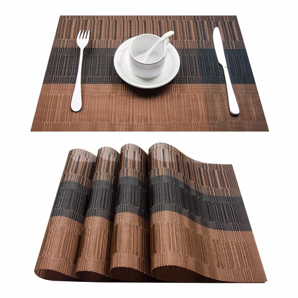 Sats med 4 PVC Bambu Plastplattor för Matbordsläsare Linens Plattmatta i Köksartiklar Kopp Vinmattor