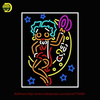 Betty Boop With Moon Outdoor Neon Sign Neon Bulb Handcrafted Glass Tube Affiche Light Outdoor Neon