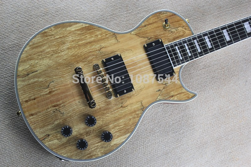 High Quality Ebony fretboard LP Custom Burlywood Electric Guitar, Body with Spalted Maple Top