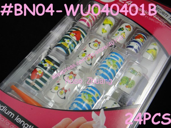 Freeshipping-24 NEW Cartoon Airbrush full cover false nail art tips Bird Nails Design +glue+file+tape+holder#BN04-WU040401B