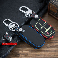Hand sewing Luminous Leather Emote Smart Car Key Cover Case Shell For Dodge Journey Charger for Jeep Renegade Grand Cherokee