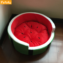 Petshy Cute Kennel Pet House Watermelon Modeling Cat Beds Nest Warm Comfort Four Seasons Small Medium Dogs Fruit Bed Sofas