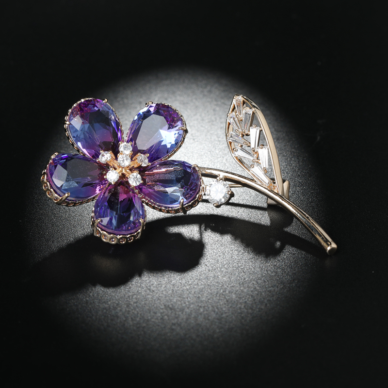 Blucome Large Marquise Pink Zircon Flower Brooches For Women Men Gold Color Dress Brooch Wedding Accessory Lapel Pins Jewelry