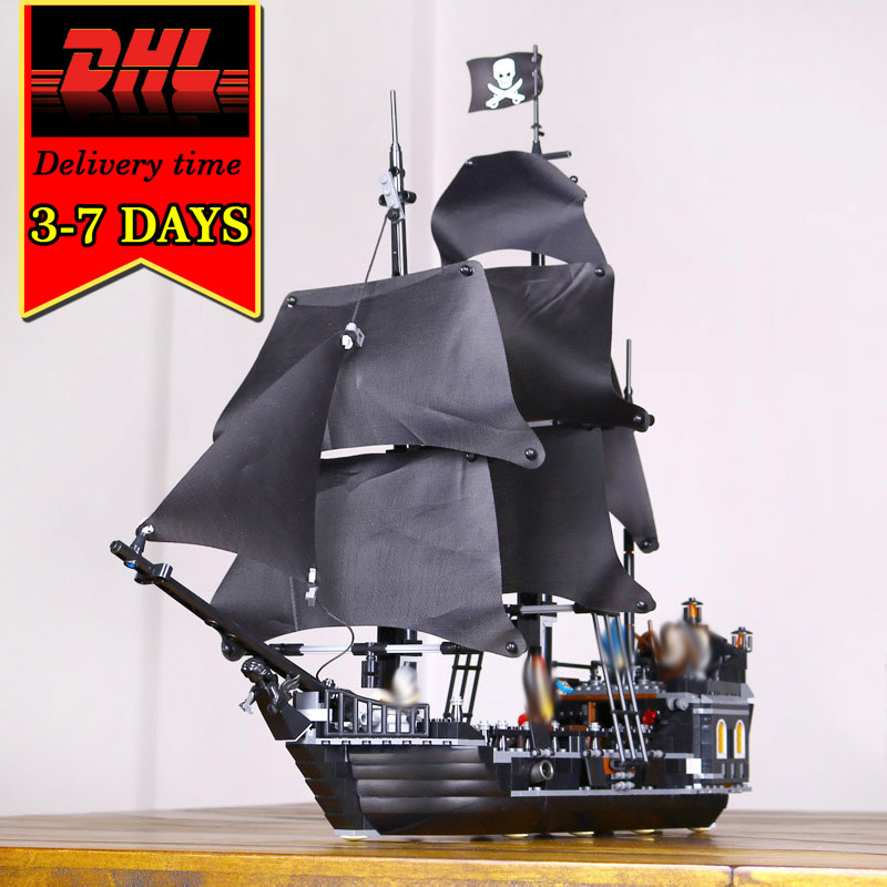 DHL LEPIN 16006 Black Pearl Pirates War ship Model Kit Building Blocks Compatible Brick Military Toy For Children Caribbean Boat lepin compatible 16009 1151pcs pirates of the caribbean queen anne s reveage model building kit blocks brick toys for kids 4195