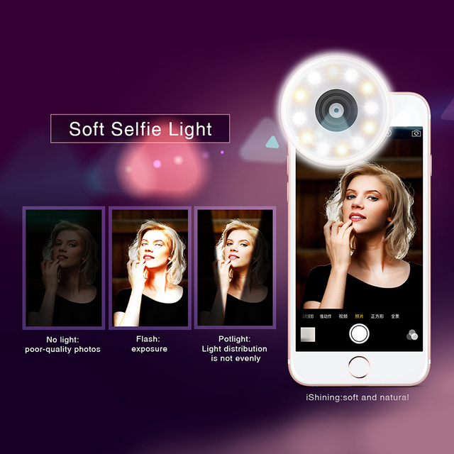 De baseus ishining teléfono móvil lente clip-on de la linterna para el teléfono inteligente iphone/samsung galaxy/htc/nokia/sony tiene tres modelo