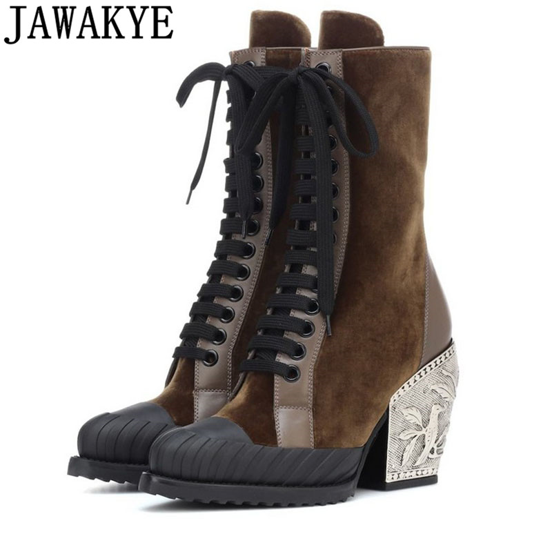 2019 Runway Design fretwork metal high Heels Ankle Boots for women Lace Up Real Leather retro