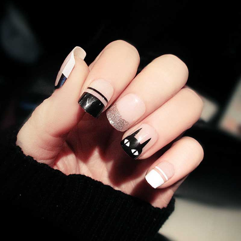 24pcs Candy Pink Black Color False Nails Diy Size Design Full Cover Nail Art Tips With Glue Girls Cute Cat Printing Fake Nail Vivid And Great In Style