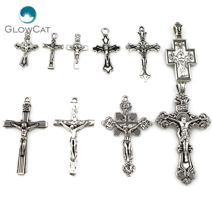 MIX 10pcs/lot Vintage Silver Zinc Alloy Jesus Cross Pendant Religious Faith Charm Frame Jewelry Finding Making 22397