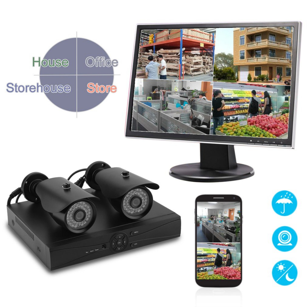 DVR Weatherproof 2 Pcs 960P Surveillance Camera Outdoor Indoor Home Security HD System Kit Video HDMI 1080N UK Plug annke 8 channel hd 1080n video security system dvr 4 hd 960p indoor outdoor cameras with ip66 weatherproof