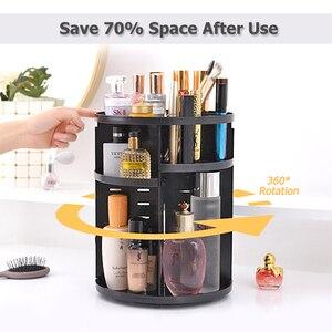 Image 2 - Plastic 360 Rotating Makeup Organizers Comestic Storage Box Organizer Women Desk Make Up Organizer Bathroom Makeup Holder