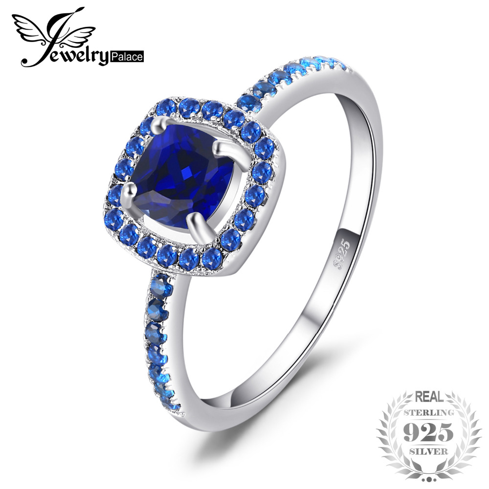 JewelryPalace Classical 0.23ct Created Sapphire Engagement Band Ring 925 Sterling Silver UiUtBKlV3U