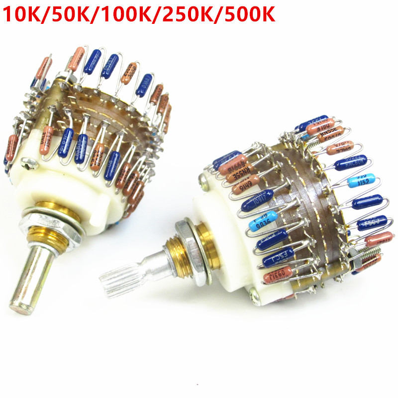 2 Channels Volume Potentiometer 10K/50K/100K/250K/500K  Dale 23 Step Attenuator For Amplifier Better Than Alps  Free Shipping