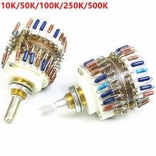 Potenciômetro de volume de 2 canais, 10k/50k/100k/250k/500k dale 23 atenuador de passo para amplificador melhor do que alps frete grátis