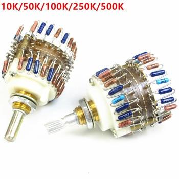 Potenciómetro de volumen de 2 canales atenuador de pasos para amplificador, 10K/50K/100K/250K/500K...